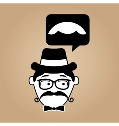 cartoon hipster mustache icon graphic vector image