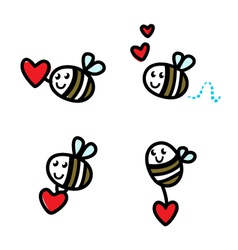 cute flying bee doodle vector image