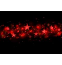 Glowing red stars dark vector image vector image
