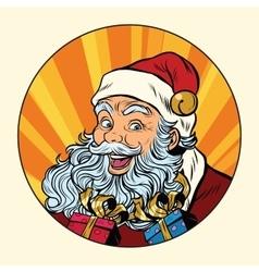 Joyful Santa Claus with gifts vector image vector image