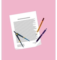 Paper Sheet Pencil Pen and Divider Isolated vector image vector image