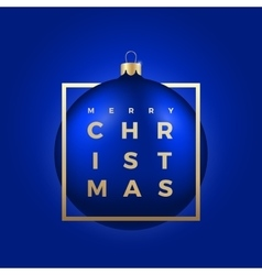 Christmas Ball on Blue Background with Golden vector image vector image