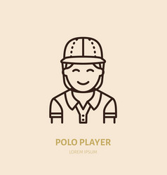 Horse polo player in shirt and helmet flat line vector