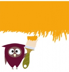 owl and brush vector image vector image