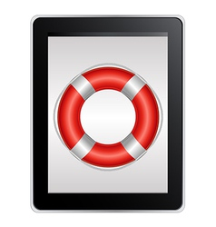 Tablet Computer With Life Buoy vector image