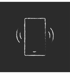 Vibrating phone icon drawn in chalk vector image
