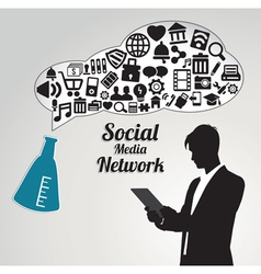 Abstract concept of social media networwork vector image vector image
