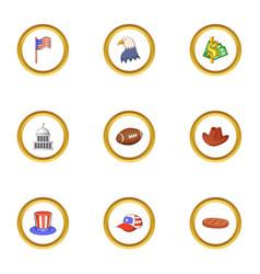 American icons set cartoon style vector