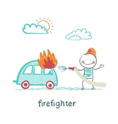 Firefighter extinguishes a car vector
