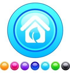 Green home circle button vector image vector image