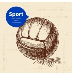 Hand drawn sport object Sketch volleyball vector image