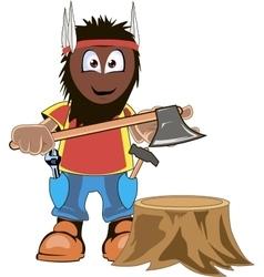 LumberJack Holding Axe Cartoon vector image vector image