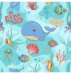 Seamless pattern with whale vector image vector image