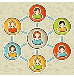 Social networks online marketing interaction vector image vector image
