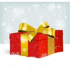 white Christmas gift box on snow vector image