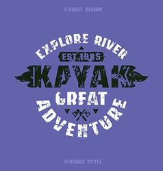 Adventure on kayak badge vector