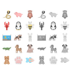 An unrealistic cartoonmono animal icons in set vector