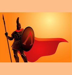 ancient warrior wearing helmet and red cloak vector image