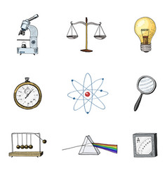 atom and prism with perpetual motion compass and vector image
