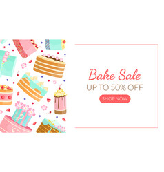bake sale landing page template with tasty cakes vector image