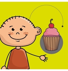 Boy cup cake bakery vector