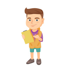 Boy writing on paper attached to a clipboard vector