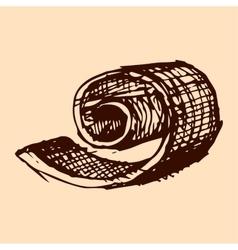 Broken chocolate shavings cocoa hand drawn sketch vector
