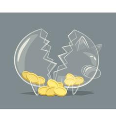 Broken glass piggy bank vector image