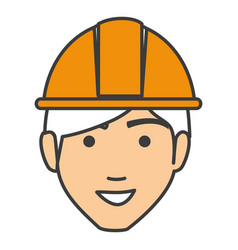 Builder head avatar character icon vector