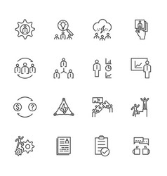 Business icons set team building concept vector
