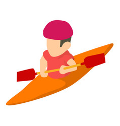 canoe player icon isometric 3d style vector image