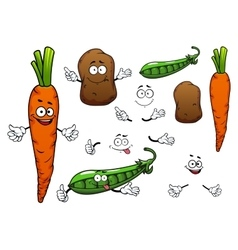 Carrot potato and green pea vegetables vector image