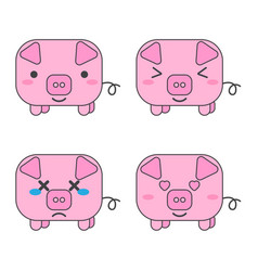 cartoon pink pigs white background vector image