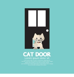 Cat Passing Through The Door For Cat vector image