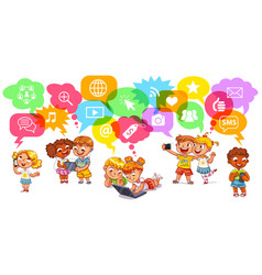 Children communicate with social networks vector