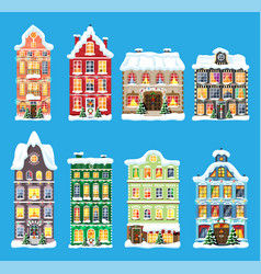 city house covered snow set vector image