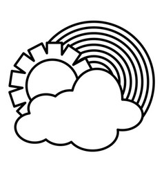 Clouds sky with sun weather and rainbow vector