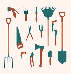 collection of flat garden tools and utensils vector image