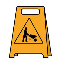 Color plastic caution emblem and laborer vector