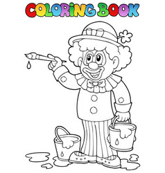 Coloring book with cheerful clown 2 vector