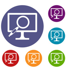 Computer monitor magnifying glass icons set vector
