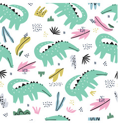 crocodile flat hand drawn seamless pattern vector image