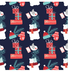 Cute christmas and new year seamless pattern with vector