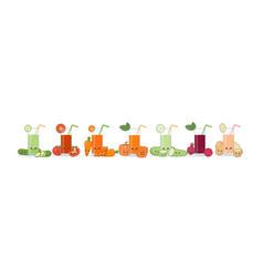 cute kawai smiling cartoon vegetable juice vector image