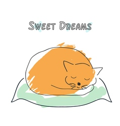 Cute sleeping cat in sketch style vector