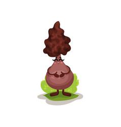 Cute truffle mushroom character with human face vector