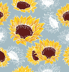 Decorative yellow sunflowers on a gray background vector image