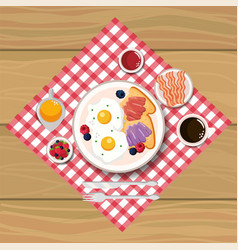 Delicious fried eggs with bacon and sliced bread vector