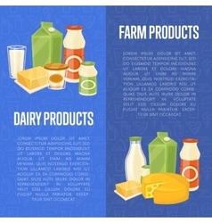Farm dairy products vertical flyers vector