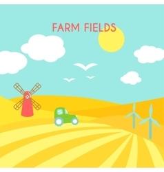 farm fields landscape cartoon green field vector image
